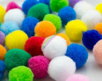 200pcs Mixed Colors Pompom Balls 20mm Polypropylene Pompoms Fluffy Pom Pom Balls,Party Decoration,DIY Craft Supplies,Baby Toy Accessories