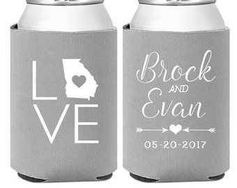 Personalized Wedding Can Coolers - Custom Wedding Favors - Custom State -  Engagement Party Favors - Monogram Favors