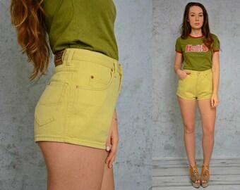 "Mustard shorts High waisted Vintage Yellow denim jean woman 1990's denim 29"" waist M Medium size"