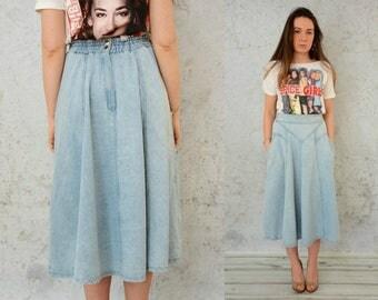 """Light blue vintage Maxi Skirt denim High waisted jean pockets M Medium size 29"""" waist"""