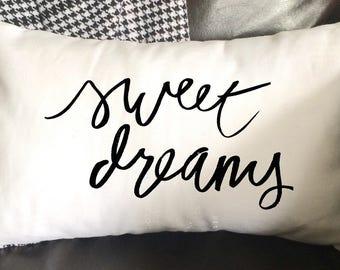 Sweet Dreams Pillow, Bedroom Pillow/Nursery Pillow,  Decorative Pillow, 12x16 Pillow, Hostess Gift, Burlap Pillow, Home Decor