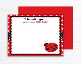 Ladybug Thank You Cards, Ladybug Birthday Party Thank you cards, Birthday Party, Thank You cards, Ladybug thank you cards, Ladybug Birthday