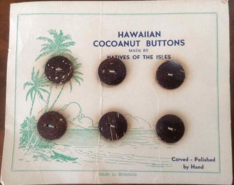 "Vintage Hand Carved and Polished Round ""Cocoanut"" Buttons - Made in Honolulu - 1930's to 1940's"