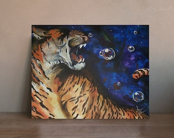 Space Tiger | 10 inch x 8 inch Giclée Print of Original Painting | Bubbles
