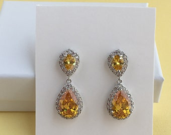 Yellow Bridal Earrings Yellow Wedding Crystal Jewelry Topaz Bridal Earrings Yellow Teardrop Rhodium Earrings Topaz Wedding Jewelry Topaz CZ