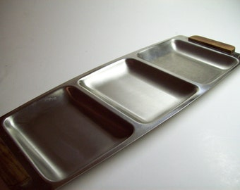 Vintage Zelco Tray Mid Century Stainless Steel Serving Dish Japan