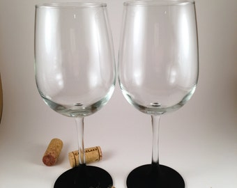 Set of 2 Chalkboard Wine Glasses