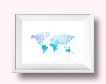 World Print, Watercolor World Print, Map of the World, Map of the World Print, Watercolor Print, Pretty World Print