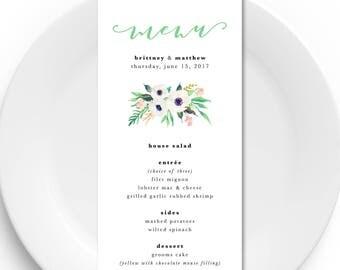 Printable Wedding Menu, Digital Wedding Menu, DIY Wedding Menu, Pretty Wedding Menu, Floral Wedding Menu, Printable Menu, Floral Menu