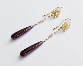 Antique Edwardian 18ct Gold Pearl & Garnet Drop Pendant Earrings - Flower Design