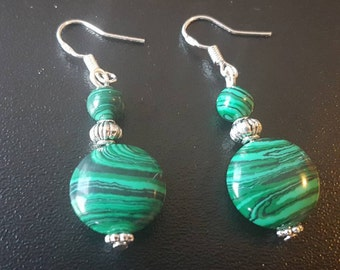 Gemstone earrings Malachite earrings 925 Silver
