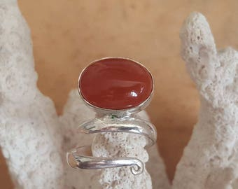 Silver lace ring with red Onyx stone, red Onyx rings, red Onyx jewelry
