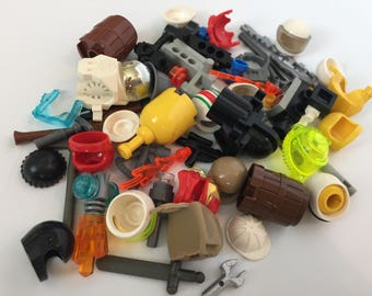 LEGO® Minifigure Accesories over 50 pieces! Various tools, weapons, helmets, utensils, cannon and more! A002