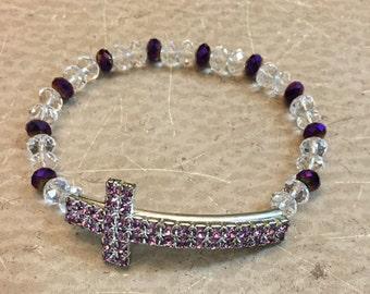 Purple cross bead bracelet, gift for her