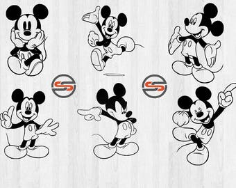 Mickey Mouse SVG, Disney, Disneyland, Mickey, Magic Kingdom, Clip Art, DXF, SVG Cutting File, Instant Download, Silhouette, T-shirt Transfer
