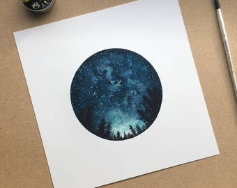 Watercolour Art Print, Starry Sky, Forest Art, Home Decor, Circle Art, Night Sky, Nature Print, Space Art, Blue, Tree Art, Landscape Print