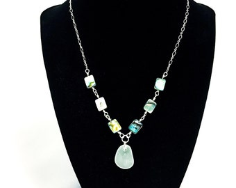 White Sea Glass Abalone Shell Sterling Silver Necklace