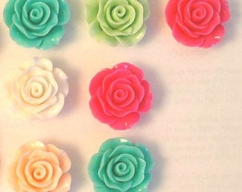 26MM Set of 7 Resin Roses ~ Peach, Hot Pink, Mint, Aqua and White