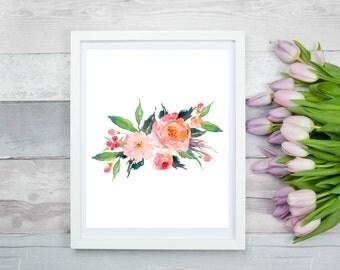 Watercolour Flower  8 x 10, Printable Wall Art, Digital Art, Digital Print, Instant Download
