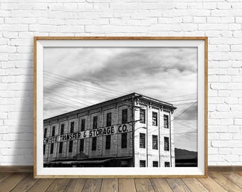 "black and white photography, large art, printable art, instant download printable art, digital download, industrial - ""Christie Transfer"""