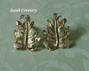 Vintage Sarah Coventry Leaf Earrings, Gold and Silver Tone, Coventry Jewelry, Coventry Earrings, Clip On Earrings, Two Tone Earrings, GS990