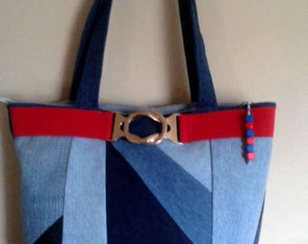 Tote style patchwork denim and faux leather