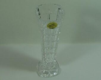 Vintage Cristal d' Arques Lead Crystal Clear Glass Vase, 24% Lead Crystal Glass Clear Vase, Retro Geometric Glass Vase, Faceted Glass Vase