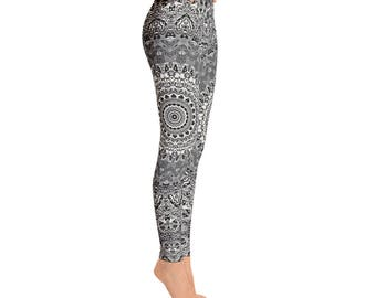 Leggings Yoga Gray - Mandala Printed Yoga Art Pants, Gray Leggings, Fashion Leggings, Womens Stretch Pants