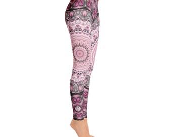 Pink and Black Leggings - Handmade Yoga Pants Gifts for Her, Custom Leggings for Women, Yoga Leggings Mandala Fashion Tights