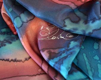 "Silk Scarf, Salmon Silk Scarves, Burgundi Blue Turquoise Silk Scarf, Hand Painted Silk Scarves, Size 17x71"", BURGUNDI NIGHT, Gift for Her"