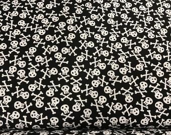 Black pirate skulls fabric, skull fabric, pirate fabric, pirates, coordinating  fabric