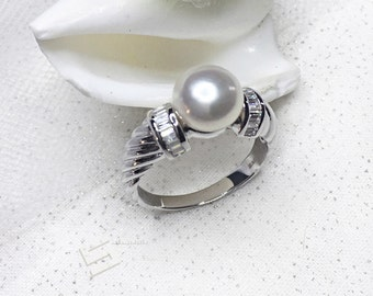 Lustrous White Pearls & Sterling Silver Ring, Top Quality AAA Grade Freshwater Pearl In 925Silver Promise Ring, Engagement Ring, Size 8
