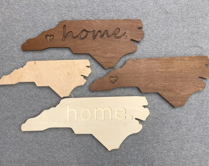 "North Carolina State Wooden Sign ""home."""