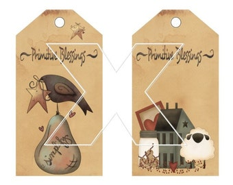 Primitive Grubby Hang Tags Instant Download and Emailed to you Prim Printable Crow Saltbox House Heart Sheep