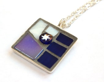 Blue Star Pendant Necklace, Mosaic Pendant, Mosaic Jewellery, Star Necklace, Blue Jewellery, Gift for Her, OOAK Gift, Star Jewellery, Unique