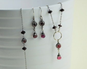 Garnet necklace garnet earrings garnet bracelet jewelry set January birthstone gift for her