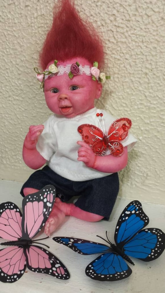Poppy,  Reborn Troll Baby Doll/ fantasy/alternative reborn doll for kids and collectors/ Christmas SALE