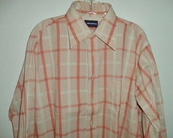 NEW 70's plaid button down shirt// Hippie grandpa thin hipster tags on dead stock oxford // Vintage Manhattan USA// Men's size large XL