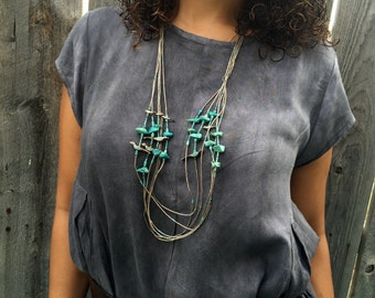 Beautiful Turquoise Bird Multi Strand Necklace STERLING SILVER
