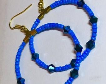 Earrings, beautiful blue beaded earrings