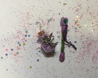 Miniature fairy wand & fairy dust set, Miniature Fairy Wand, Miniature Fairy Dust, Miniature Wand, Pixie Dust, Purple Fairy Wand