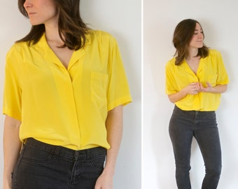 Vintage Yellow Blouse Silk | Small Silk Blouse by The birds