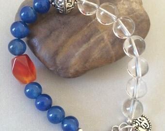 Om Bracelet, Blue Agate, Clear Quartz, Orange Agate, Sterling Silver Lobster Claw Clasp, Handmade Beaded Bracelet