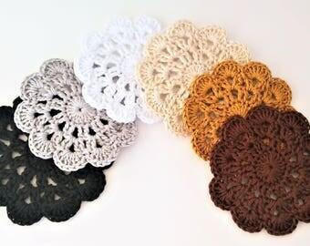 6 Apliques mandala en ganchillo Colores Neutros - apliques de ganchillo - 6 Neutral Colors Crochet mandala appliques-appliques au crochet