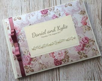 Pink Floral Vintage Guestbook
