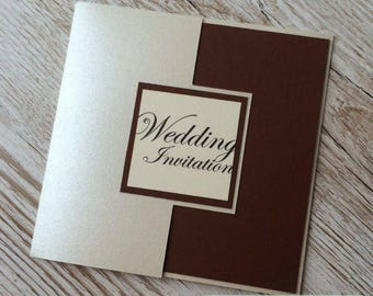 Pearlescent Gatefold Wedding Invitation Sample
