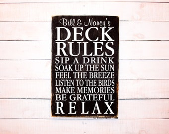 Deck Rules Sign | Personalized Deck Rules | Porch Rules Sign | Patio Rules Sign | Personalized Neighbor Gift Idea | Deck Rules | Wood Sign