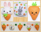 Ready to Ship - Easter Garland, Five Ornaments: Two Carrots, Easter Egg, Easter Bunny, Easter Felt Ornaments