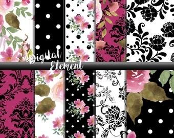 Digital Paper, Watercolor Scrapbook Paper, Digital Shabby Pink Rose Paper, Rose Watercolor Scrapbook Paper, Pink Rose Paper. No. P160