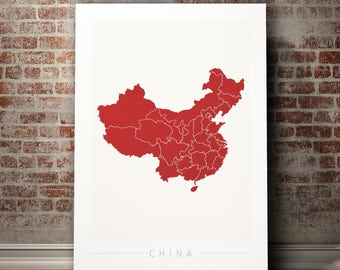 China Map - Country Map of China - Art Print Watercolor Illustration Wall Art Home Decor Gift - COLOUR PRINTS